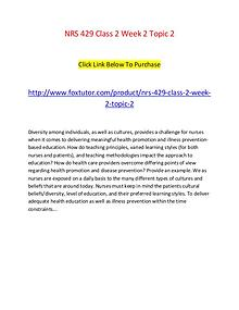 NRS 429 Class 2 Week 2 Topic 2