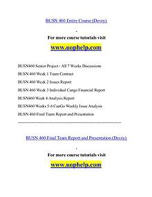 BUSN 460 help Making Decisions/uophelp.com