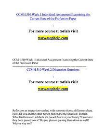 CCMH 510 help Making Decisions/uophelp.com