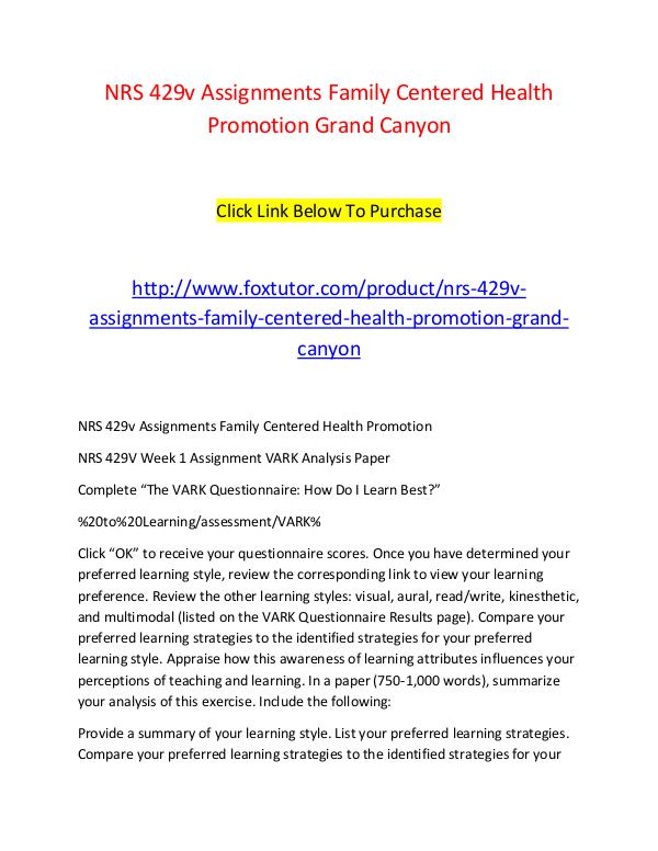 NRS 429v Assignments Family Centered Health Promotion Grand Canyon NRS 429v Assignments Family Centered Health Promot