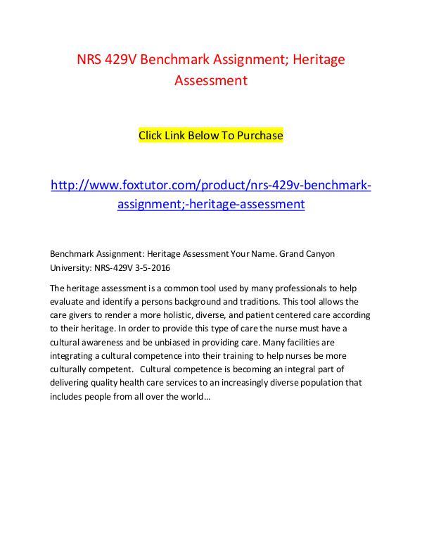 NRS 429V Benchmark Assignment; Heritage Assessment NRS 429V Benchmark Assignment; Heritage Assessment