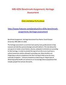 NRS 429V Benchmark Assignment; Heritage Assessment