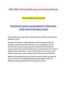 NRS 429V Family Health Assessment Gwen Reaves