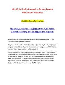 NRS 429V Health Promotion Among Diverse Populations Hispanics