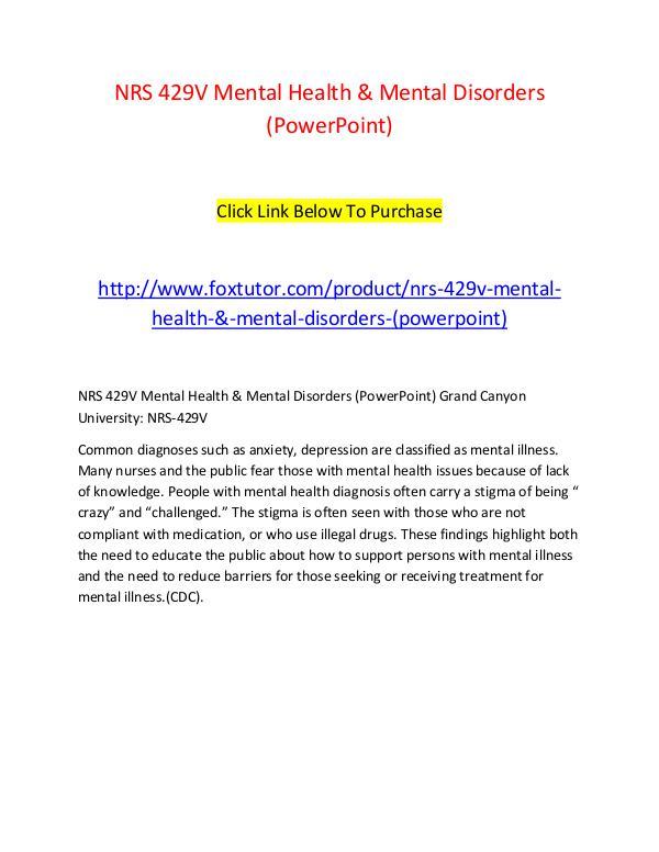 NRS 429V Mental Health & Mental Disorders (PowerPoint) NRS 429V Mental Health & Mental Disorders (PowerPo