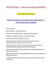 NRS 429V Week 1   VARK Analysis Paper [UPDATED]