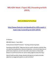 NRS 429V Week 1 Topic1 DQ 2 According to Kizlik (2013),