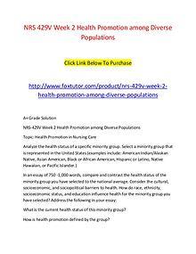 NRS 429V Week 2 Health Promotion among Diverse Populations