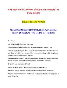 NRS 429V Week 2 Review of Literature compare the three articles