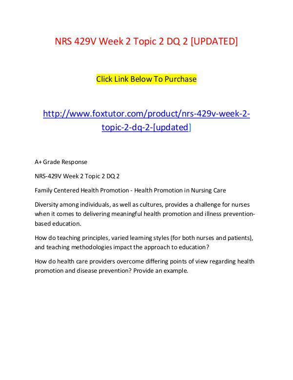 NRS 429V Week 2 Topic 2 DQ 2 [UPDATED] NRS 429V Week 2 Topic 2 DQ 2 [UPDATED]