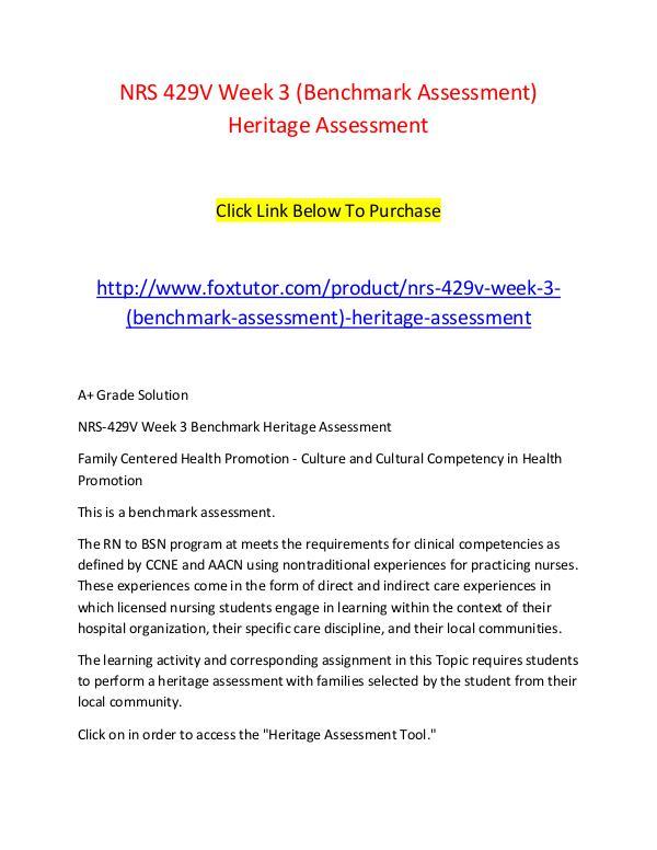 NRS 429V Week 3 (Benchmark Assessment) Heritage Assessment NRS 429V Week 3 (Benchmark Assessment) Heritage As