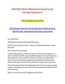 NRS 429V Week 3 (Benchmark Assessment) Heritage Assessment