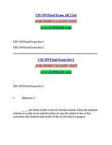 CIS 359 STUDY Great Stories/cis359study.com