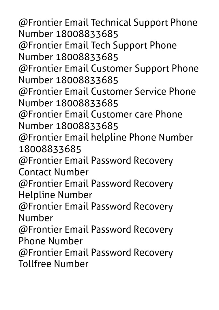 Frontier Email Technical Support 18008833685 Customer Service Reset troubleshooting