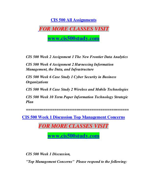 CIS 500 STUDY Great Stories/cis500study.com CIS 500 STUDY Great Stories/cis500study.com