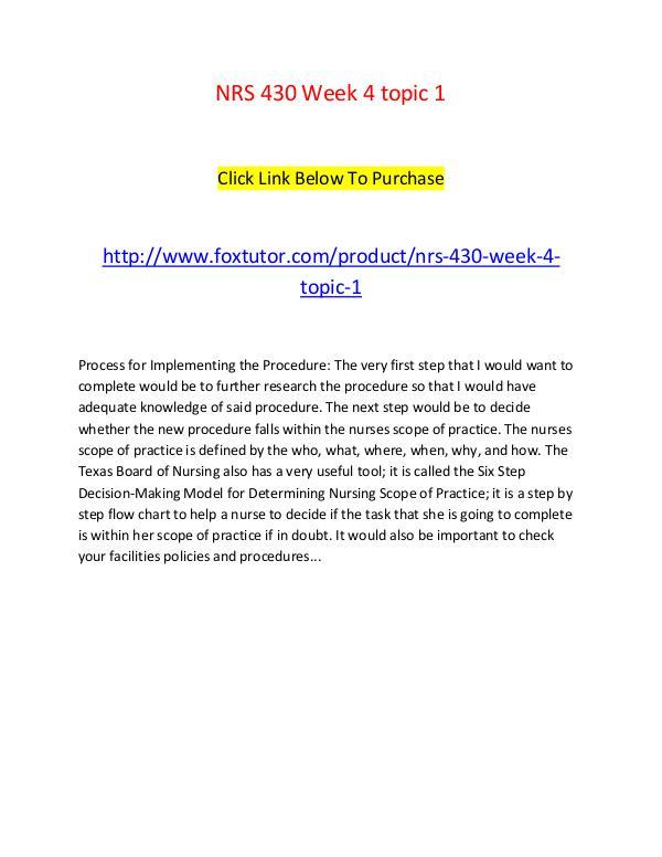 NRS 430 Week 4 topic 1 NRS 430 Week 4 topic 1