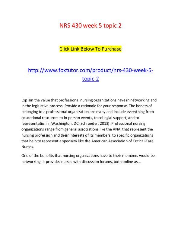 NRS 430 week 5 topic 2 NRS 430 week 5 topic 2