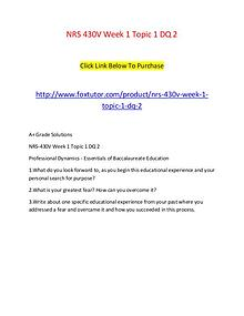 NRS 430V Week 1 Topic 1 DQ 2