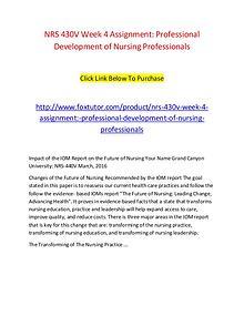NRS 430V Week 4 Assignment Professional Development of Nursing Profes