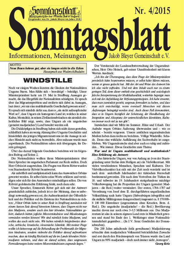 Sonntagsblatt 4/2015