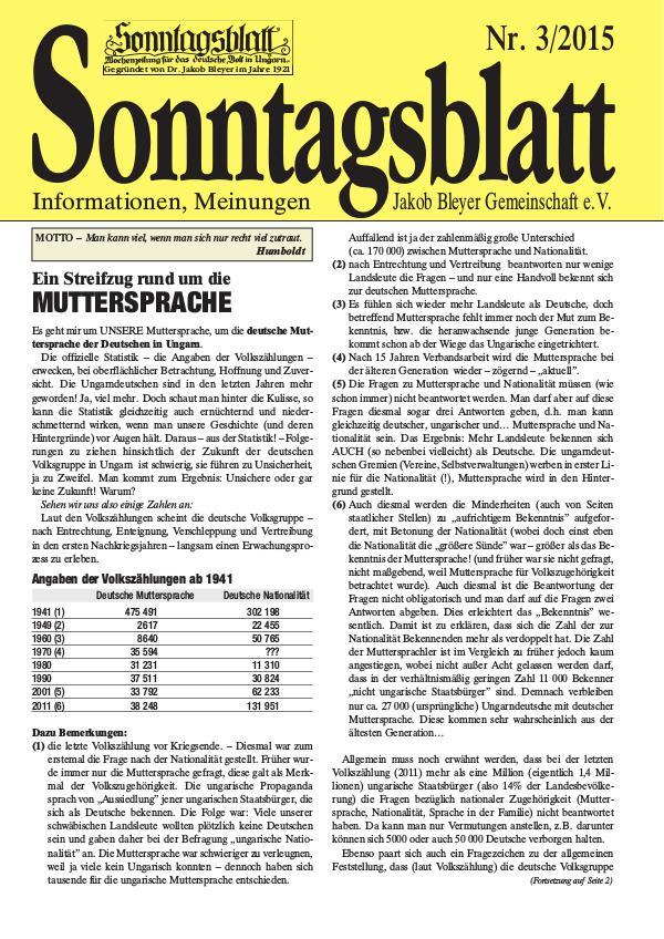 Sonntagsblatt 3/2015