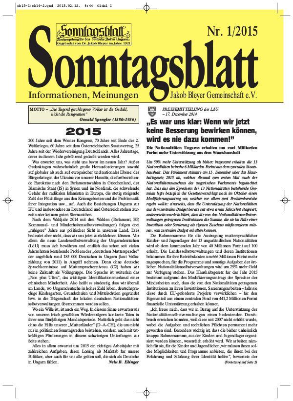Sonntagsblatt 1/2015