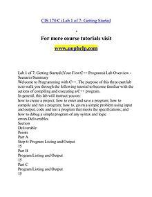 CIS 170 (Devry) help Making Decisions/uophelp.com