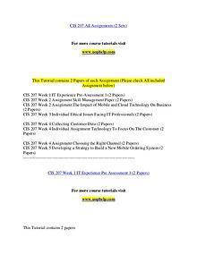 CIS 207 help Making Decisions/uophelp.com