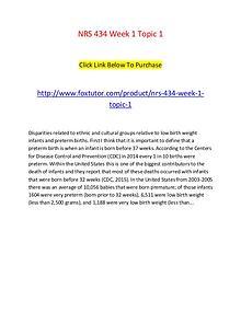 NRS 434 Week 1 Topic 1