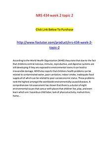 NRS 434 week 2 topic 2