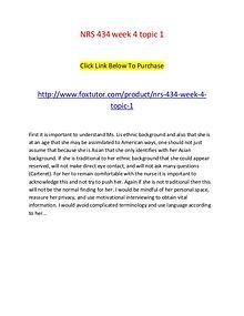 NRS 434 week 4 topic 1