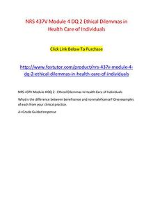 NRS 437V Module 4 DQ 2 Ethical Dilemmas in Health Care of Individuals