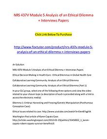 NRS 437V Module 5 Analysis of an Ethical Dilemma + Interviews Papers