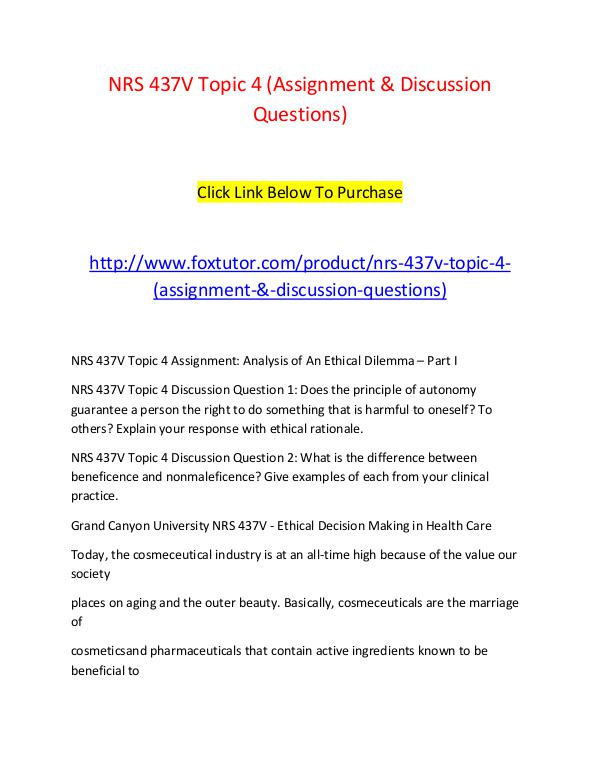 NRS 437V Topic 4 (Assignment & Discussion Questions) NRS 437V Topic 4 (Assignment & Discussion Question