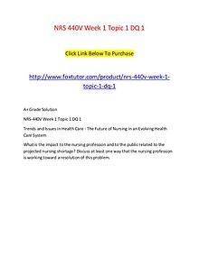 NRS 440V Week 1 Topic 1 DQ 1