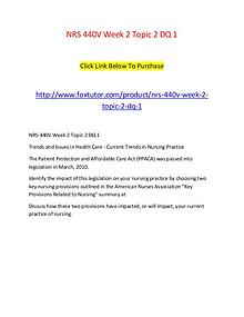 NRS 440V Week 2 Topic 2 DQ 1