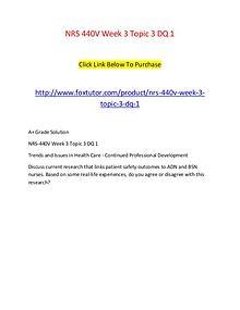NRS 440V Week 3 Topic 3 DQ 1