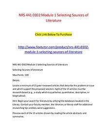 NRS 441 0102 Module 1 Selecting Sources of Literature
