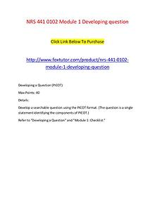 NRS 441 0102 Module 1 Developing question