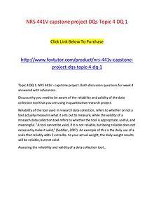 NRS 441V capstone project DQs Topic 4 DQ 1