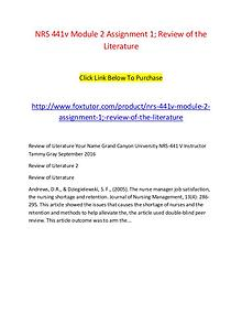 NRS 441v Module 2 Assignment 1; Review of the Literature