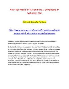 NRS 441v Module 4 Assignment 1; Developing an Evaluation Plan