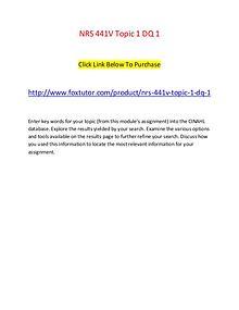 NRS 441V Topic 1 DQ 1