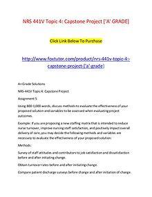 NRS 441V Topic 4 Capstone Project ['A' GRADE]