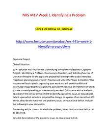 NRS 441V Week 1 Identifying a Problem