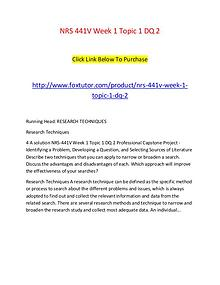 NRS 441V Week 1 Topic 1 DQ 2
