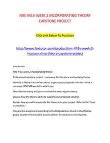 NRS 441V WEEK 2 INCORPORATING THEORY CAPSTONE PROJECT
