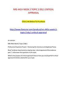 NRS 441V WEEK 2 TOPIC 2 DQ 1 CRITICAL APPRAISAL