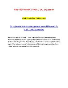 NRS 441V Week 2 Topic 2 DQ 1 question