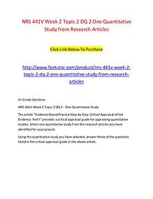 NRS 441V Week 2 Topic 2 DQ 2 One Quantitative Study from Research Art